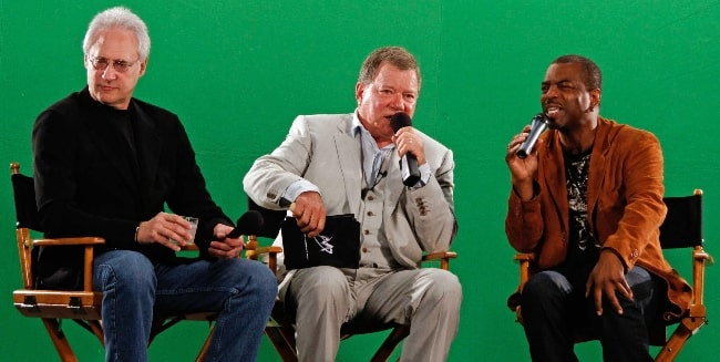 From Left to Right - Brent Spiner, William Shatner, and Levar Burton pictured at the Tweet House during Comic-Con in San Diego, California in July 2010