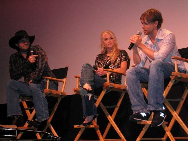 From Left to Right - Robert Rodriguez, Jaime King, and Nick Stahl at a 'Sin City' Q&A in the Paramount Theater in Austin in 2005
