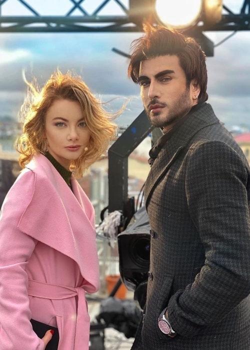 Imran Abbas posing for the camera alongside Sedef Şahin in Istanbul, Turkey in April 2021