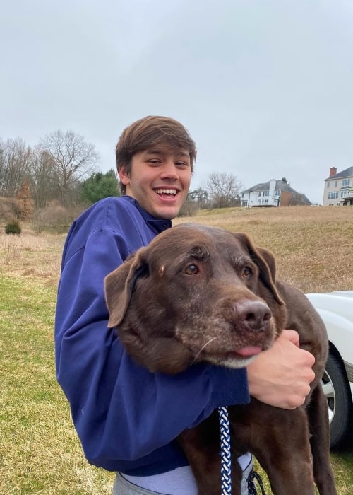 Jacob Hoexum as seen in a picture with his dog in April 2020