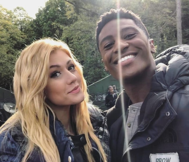 Joseph David-Jones as seen while smiling in a selfie alongside Katherine McNamara