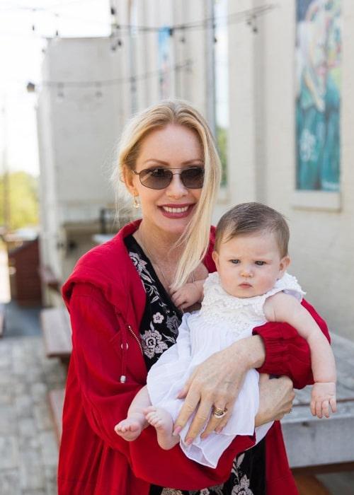 Karen Marie Moning with her grand niece, as seen in September 2017