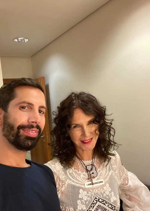 Katia Labèque posing with a fan in September 2020