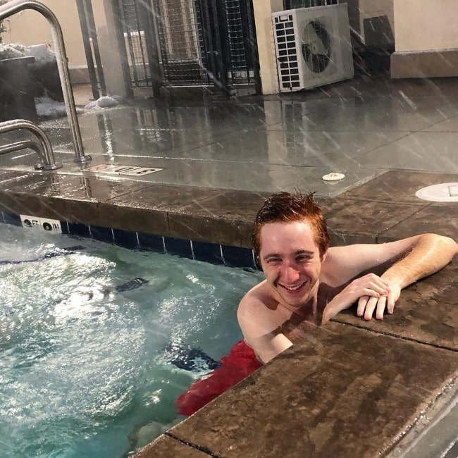 Larry Saperstein in February 2019 enjoying being in a hot tub while it is snowing