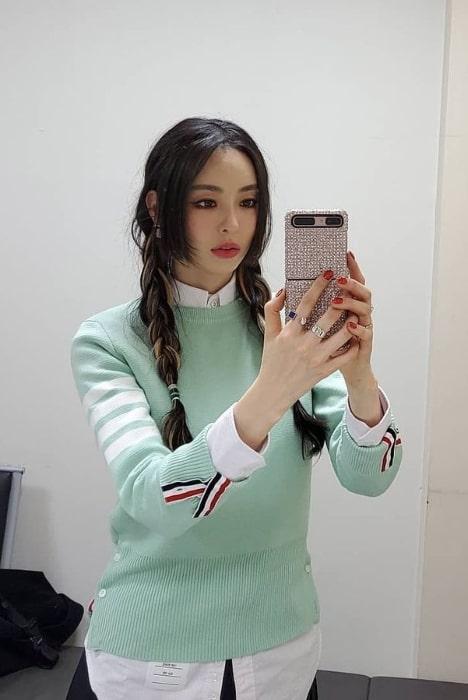Lee Da-hee taking a mirror selfie in January 2021