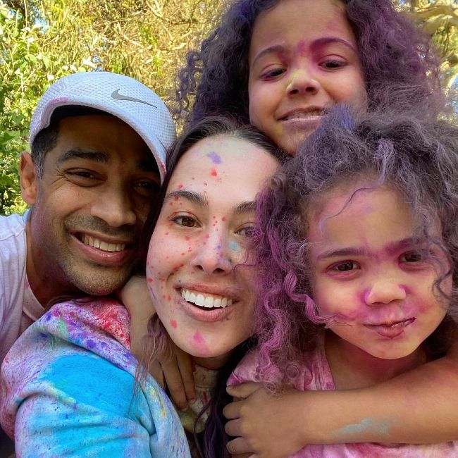 Meena Harris seen smiling with her family in 2021