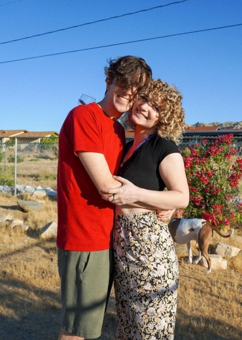 Ricky Montgomery as seen in a picture with his girlfriend Jess JoHo on the day of her birthday in June 2021, in Joshua Tree, California
