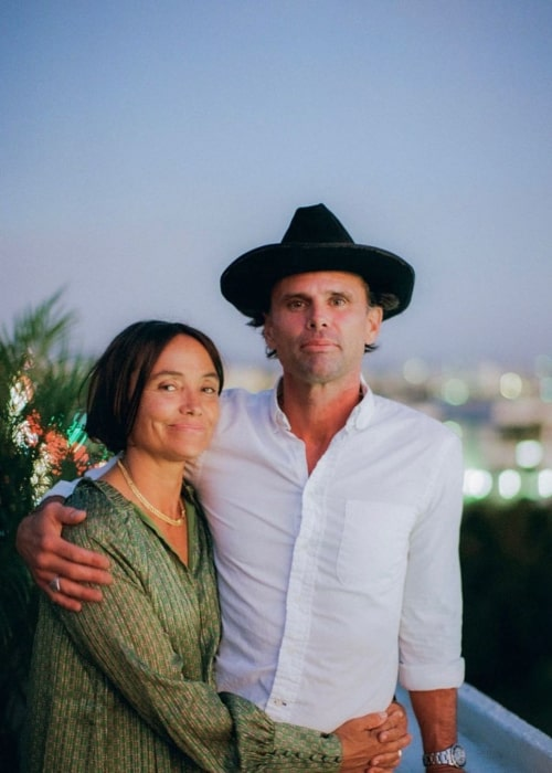 Walton Goggins and Nadia Conners, as seen in February 2020
