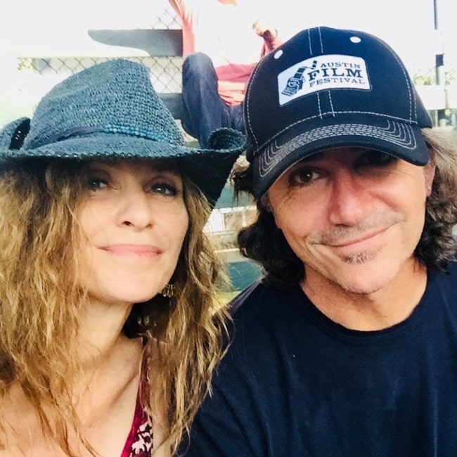 Amy Brenneman and her husband Brad Silberling as seen in a selfie that was taken in May 2021