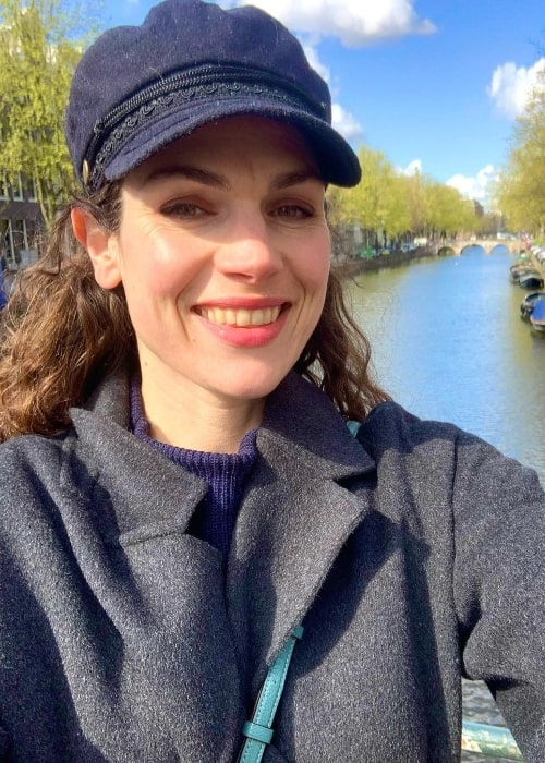 Anna Drijver as seen while smiling for a selfie in Amsterdam in April 2021