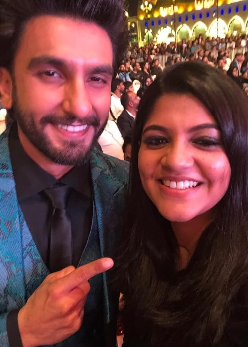 Aparna Balamurali smiling in a selfie alongside Ranveer Singh in February 2019