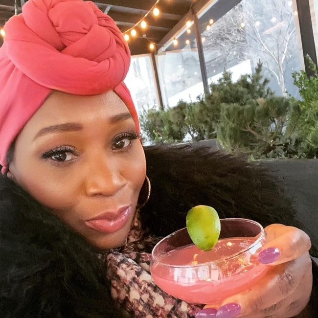 Bevy Smith in April 2021 declaring it to be the height of fashion when the drink matches the turban