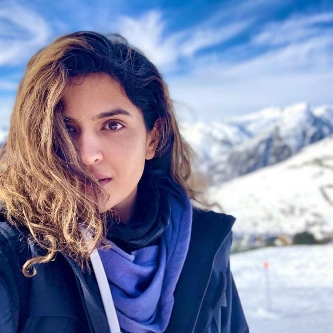 Deeksha Seth as seen in a selfie that was taken at Baqueira Beret in January 2021