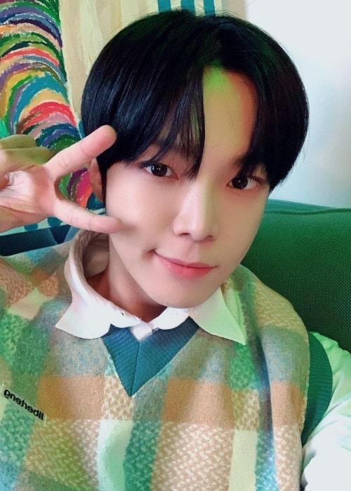 Dongheon as seen in a selfie that was taken in December 2020