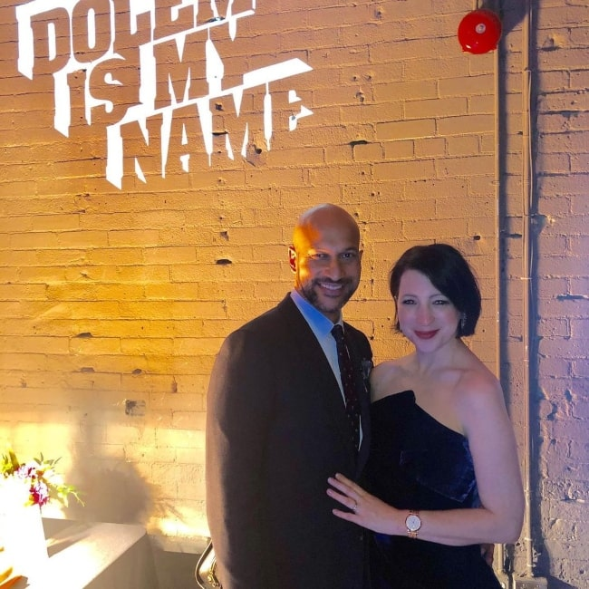 Elisa Pugliese as seen in a picture with her beau Keegan-Michael Key on the premier of Dolemite Is My Name in September 2019