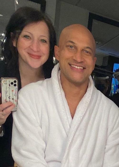 Elisa Pugliese as seen in a selfie with her husband Keegan-Michael Key backstage at Saturday Night Live in May 2021