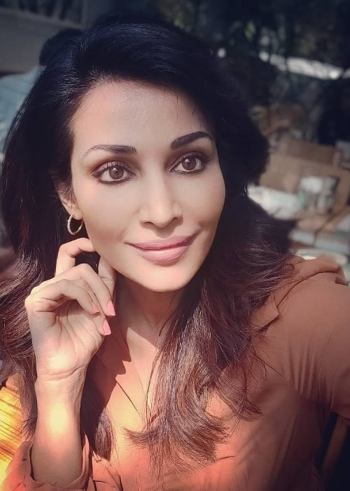 Flora Saini as seen while taking a selfie in April 2021