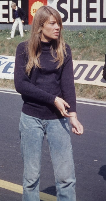 Françoise Hardy as seen during the filmmaking of 'Grand Prix' on the Circuit de Charade in August 1966