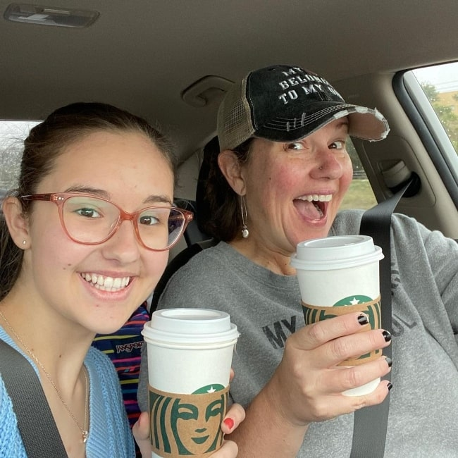 Gabriella Graves as seen in a selfie alongside her mother while on a mother-daughter trip in April 2021