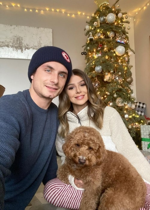 James Kennedy clicking a selfie with Raquel Leviss and their dog in December 2020