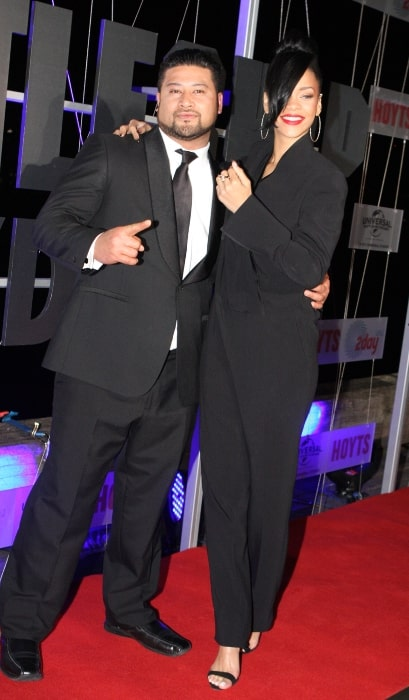 John Tui and Rihanna at the Australian premiere of 'Battleship' in Sydney in April 2012