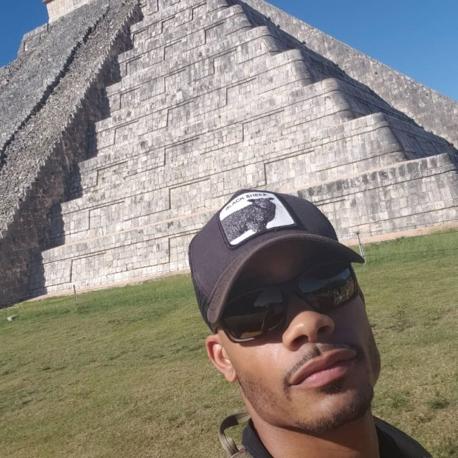Jordan Calloway as seen while taking a selfie at Chichen Itza