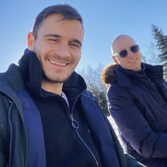Julian Kostov (Left) smiling while clicking a selfie along with Philip Valchev in Vitosha Mountain in Bulgaria in March 2021