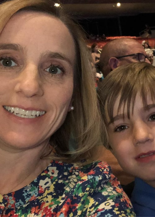 Kerri Strug with her son Tyler, as seen in March 2019