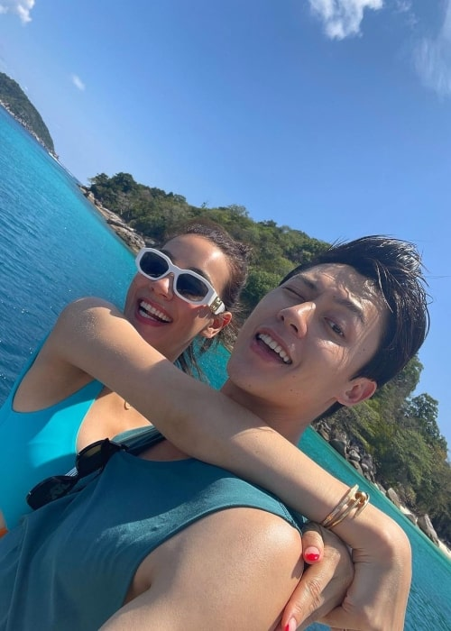 Kimberley Anne Woltemas as seen in a selfie with her partner actor and model Prin Suparat on the Similan Islands in April 2021