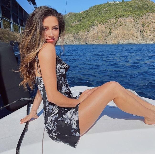 Kristina Schulman enjoying herself in Gustavia in January 2021