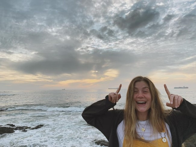 Laura Dreyfuss as seen while smiling for a picture at Sea Point, Western Cape, South Africa in 2020