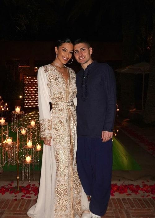 Marco Verratti and Jessica Aidi, as seen in December 2020
