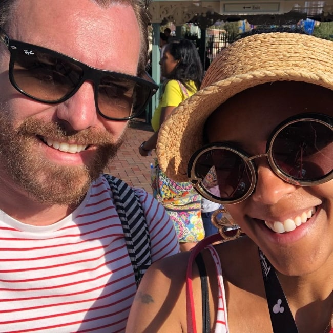 Marsha Thomason as seen in a selfie with her husband Craig Sykes in June 2018