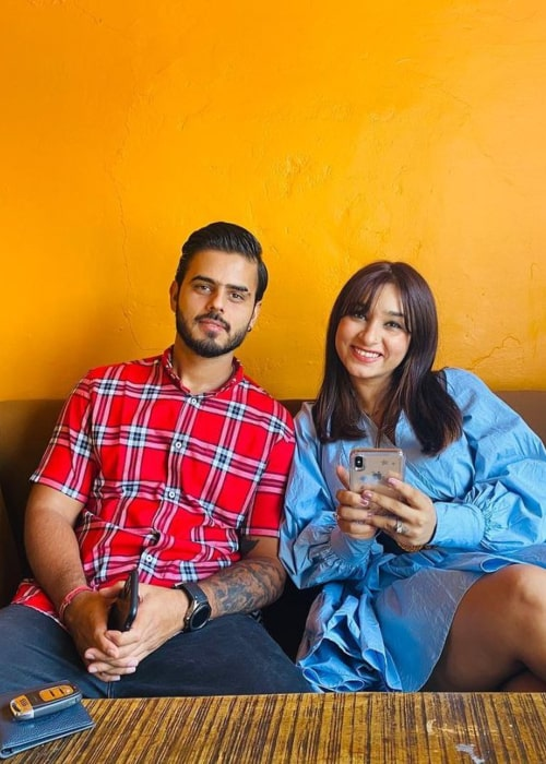 Nitish Rana and Saachi Marwah, as seen in July 2020