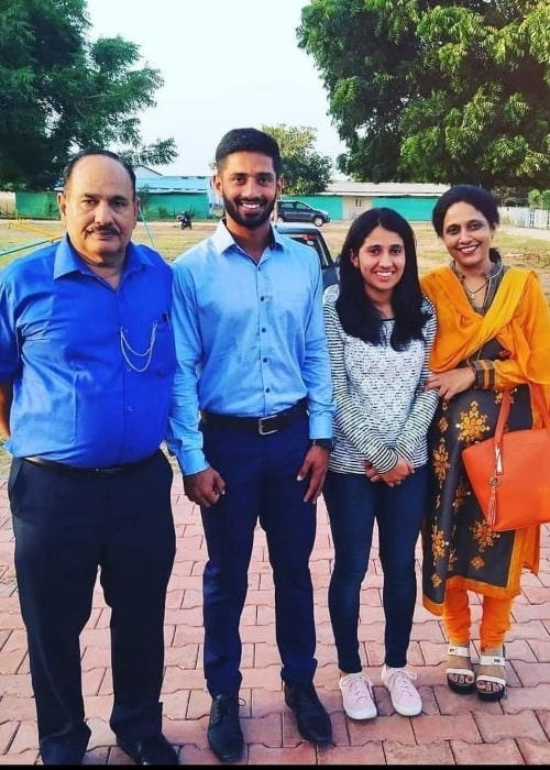 Rahul Tripathi, with his parents and sister, as seen in February 2021