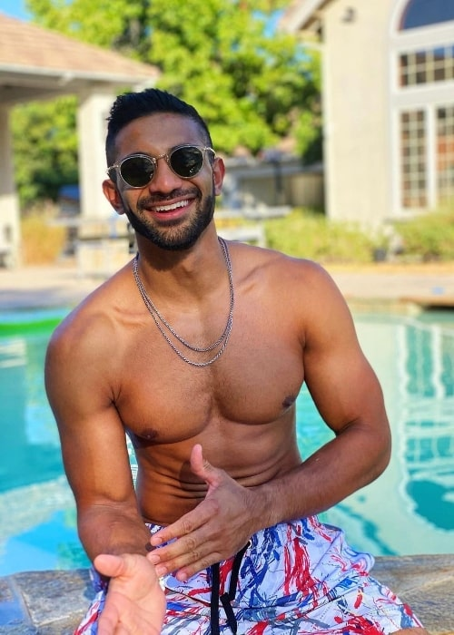 Rhys Athayde as seen while posing shirtless for the camera in Los Angeles, California in September 2020