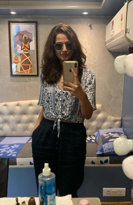 Rucha Inamdar as seen while taking a mirror selfie in a vanity van in Delhi, India in March 2021
