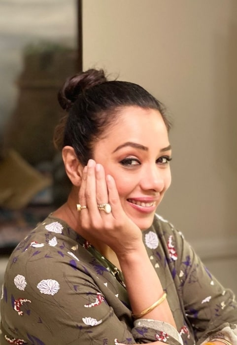 Rupali Ganguly as seen while smiling for a picture at her home in March 2021