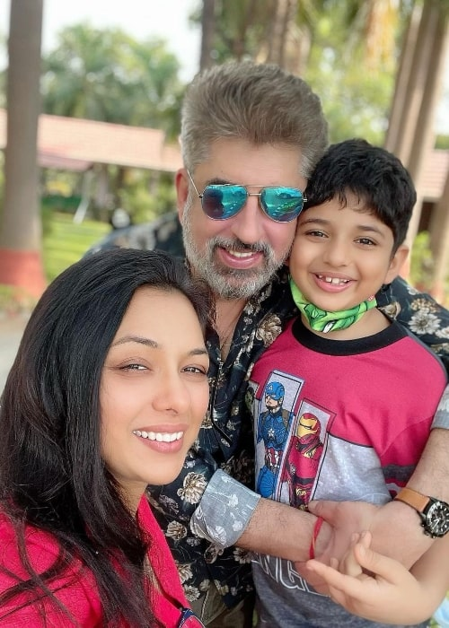Rupali Ganguly as seen while taking a selfie with her husband and their son in May 2021