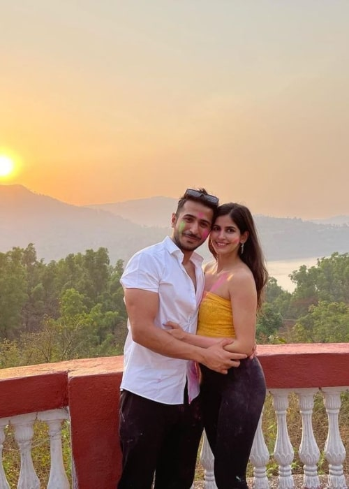 Sakshi Malik and her beau Santul Katahra as seen in a picture that was taken in March 2021
