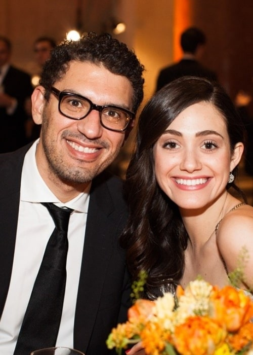 Sam Esmail and Emmy Rossum, as seen in August 2014