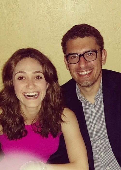 Sam Esmail and Emmy Rossum, as seen in June 2015