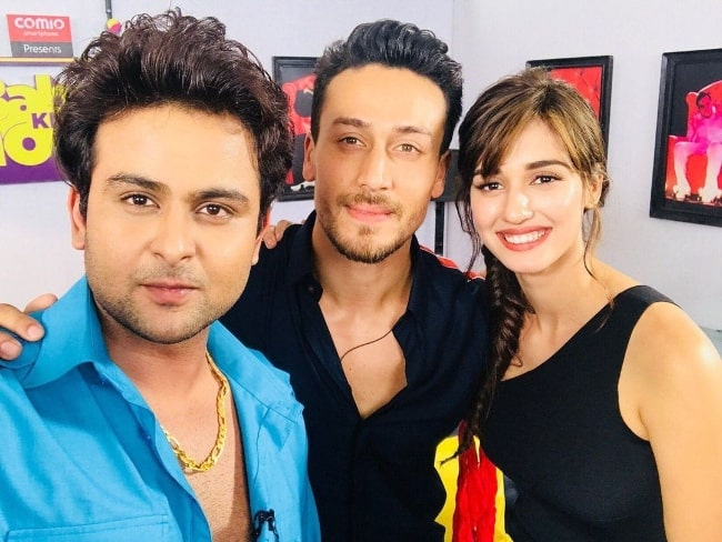 Sanket Bhosale as seen while taking a selfie with Tiger Shroff (Center) and Disha Patani