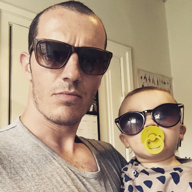 Simon Sears taking a selfie with his son