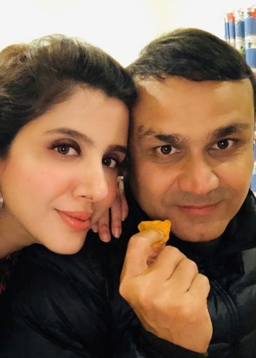 Virender Sehwag and Aarti Ahlawat, as seen in January 2021