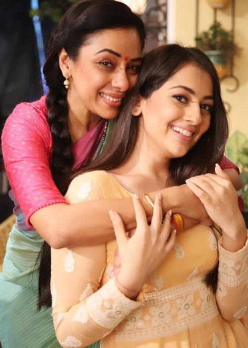 Anagha Bhosale as seen in a picture that was taken with fellow actress Rupali Ganguly on the set of Anupamaa in October 2020