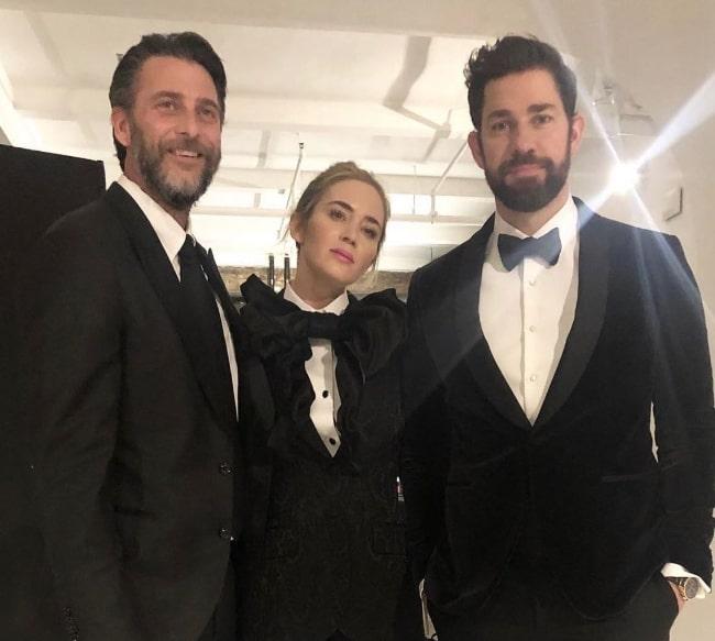 Andrew Form (Left) posing for the camera alongside Emily Blunt and John Krasinski