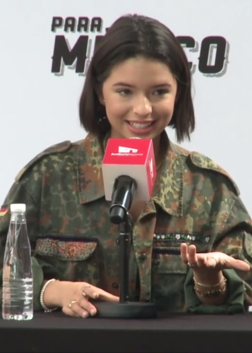 Ángela Aguilar as seen in a screenshot that was taken from a press conference video that was held on December 4, 2019