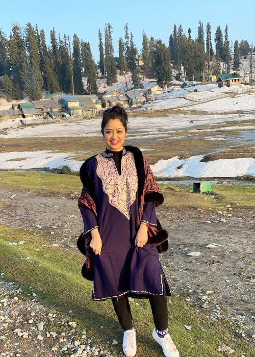Apsara Rani as seen in Gulmarg Gondola in Gulmarg, Jammu and Kashmir in April 2021