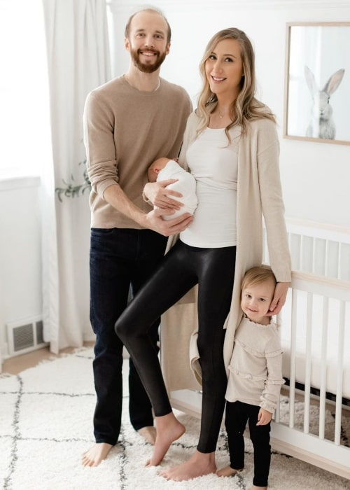 Carly Cristman with her husband Cody Carson and their children Kennedy and Theodore in January 2021